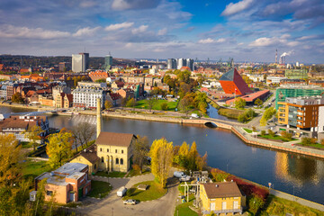 Aerial view of the Gdansk city at the Motlawa river with amazing architecture,  Poland