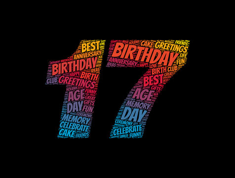 Happy 17th birthday word cloud, holiday concept background