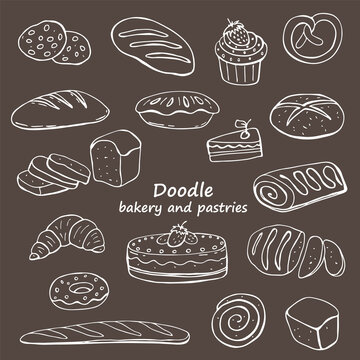 Doodle images of baked goods and pastries on a dark background. An image of a hand-drawn food. Vector for web, print, textile.