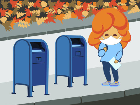 Funny young redhead girl character with a letter standing wearing a mask near a blue mailbox on the street with an autumn leaf on the ground. Sending letters, post service or voting by mail.