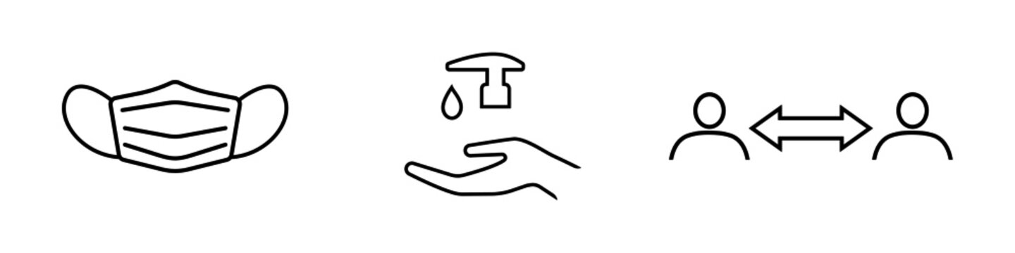 Set of Covid-19 related line icons. Protective face mask, hand sanitizer and social distancing. Vector Illustration