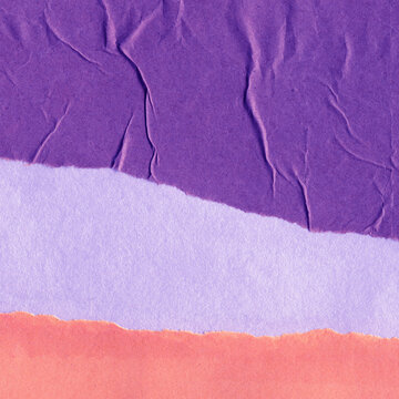 Blue and violet torn paper collage close-up. Texture made from various paper and cardboard parts. Damaged old paper background. Vintage blank wallpaper. Material design backdrop.