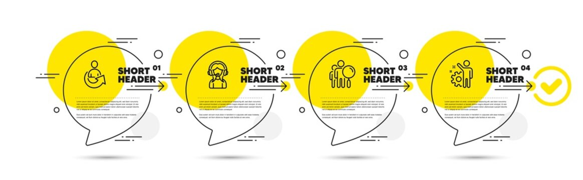 Support, Search people and Share line icons set. Timeline infograph speech bubbles. Employee sign. Call center, Find employee, Referral person. Cogwheel. People set. Vector