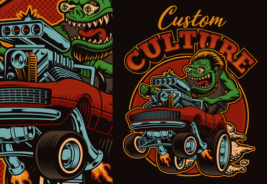 A colorful vector illustration of a cartoon hot rod, this design is perfect as a shirt print.