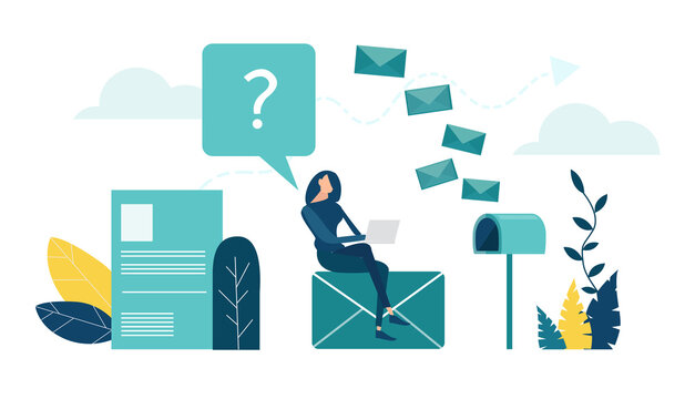 Young woman sits at mailbox and receiving the news, letters, documents. Data collection, communication, sharing information concept.