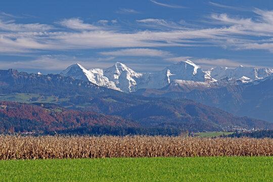 Aussicht von Längenberg, Berner Alpen, Schweiz
