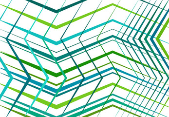 Zig-zag, criss-cross, serrated, crinkled angular grid, mesh, lattice or grating, grill of random angled lines. Abstract geometric colorful GREEN-TEAL background, texture and pattern Wall mural