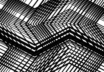 Zig-zag, criss-cross, serrated, crinkled angular grid, mesh, lattice or grating, grill of random angled lines. Abstract geometric grayscale, monochrome background, texture and pattern Wall mural
