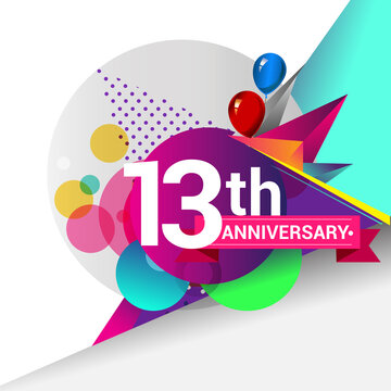 13th Years Anniversary logo with colorful geometric background, vector design template elements for your birthday celebration.