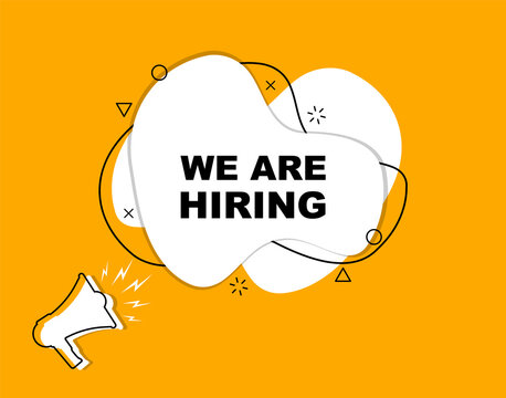 We are hiring and megaphone. Marketing and advertising for your business. Promotion banner.