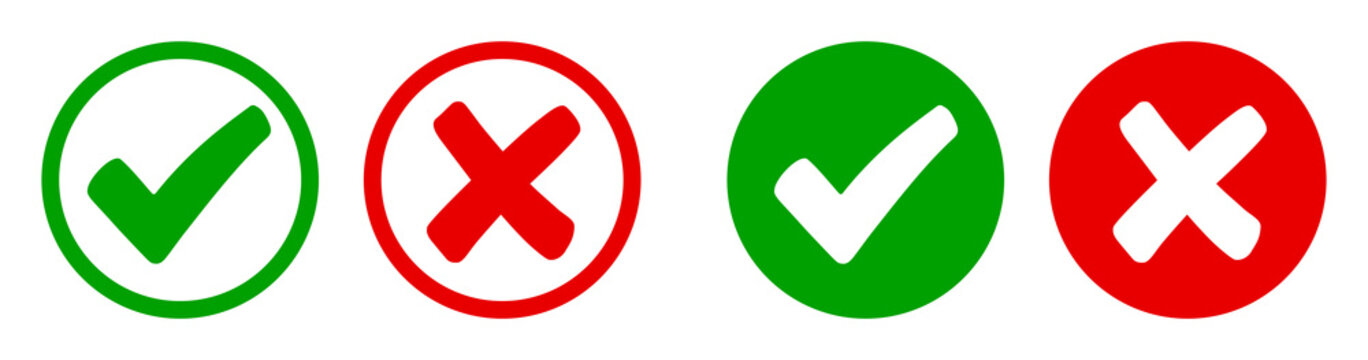 Set check mark and cross icons in circle - stock vector