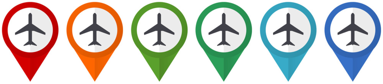 Plane, flight, airplane vector pointers, set of colorful flat design icons isolated on white background