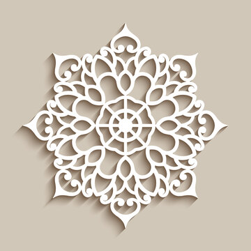 Lace doily, decorative snowflake, circle mandala ornament, cutout paper round pattern, laser cutting template