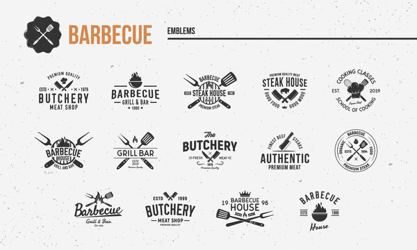 Barbecue, Steak House vintage logo set. Set of 14 barbecue restaurant logo templates. Trendy BBQ grill emblems, labels, posters. Vintage graphics for restaurant, bbq, steak house, meat shop.