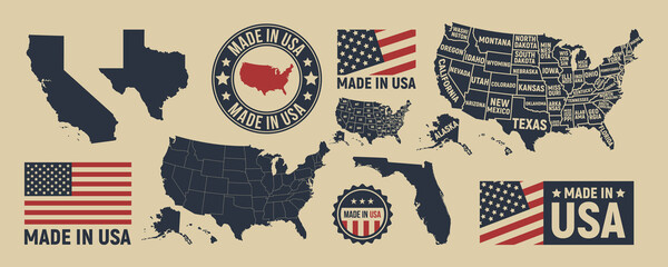 Fototapeta Vector USA map, label, logo. USA patriotic set. United States vintage typography. Texas, California, Florida map. United States of America blank and poster map. Print for t-shirt. Poster for pub, bar. obraz