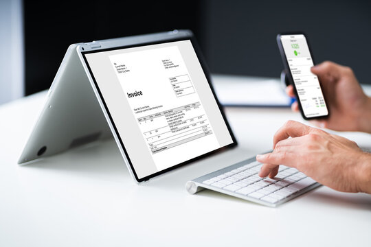 Digital Invoice Document On Tablet Or Laptop