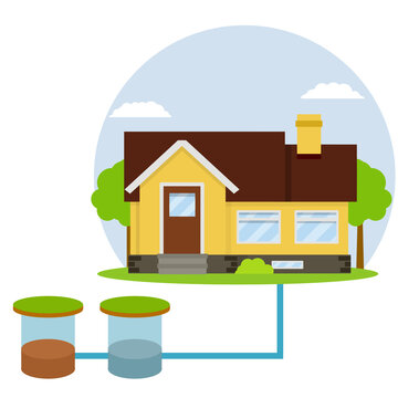 Scheme External network of suburban home sewage treatment system. house with brown roof. Cartoon flat illustration. Pipe, septic tanks, drainage