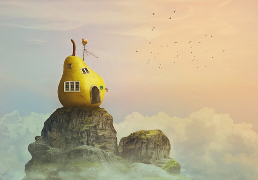 Fantasy world, pear house on the top of the mountain, in clouds;
