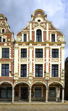 Historic houses on the Grand Place in Arras. Arras is the capital of the Pas-de-Calais department in northern France. The historic centre of the Artois region.