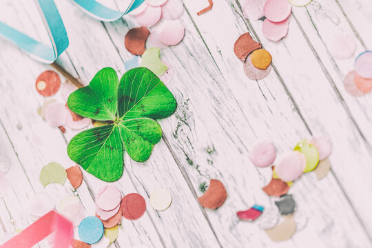 Confetti Background on wooden card