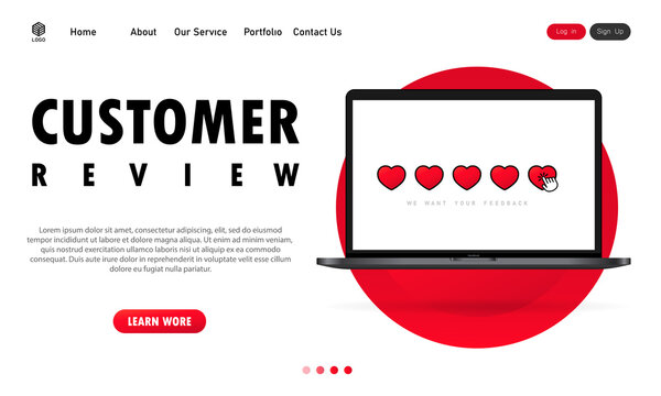 Customer review on laptop banner. Give a five star. Positive feedback concept. Vector on isolated white background. EPS 10