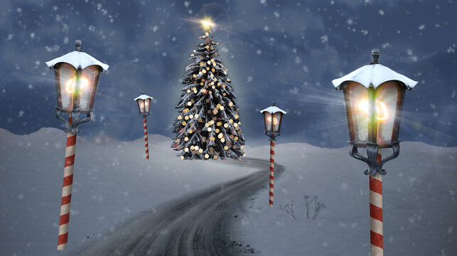 christmas tree lantern north pole christmas road on snow