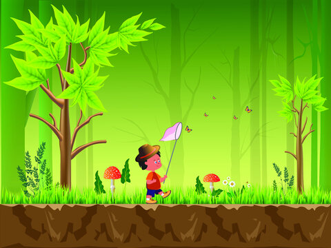 Forest vector illustration with trees, flower, fly agaric and character - boy entomologist catching butterflies. For video and web design, games, print, magazines, newspapers, books and posters.