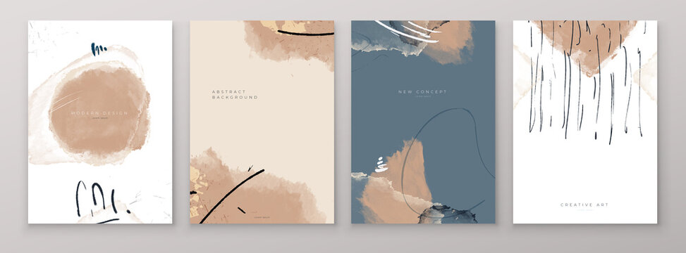 Set of Creative Abstract Hand Painted Illustrations for Postcard, Social Media Banner or Brochure Cover Design Background. Minimalistic Watercolor Painting Artwork. Vector Pattern