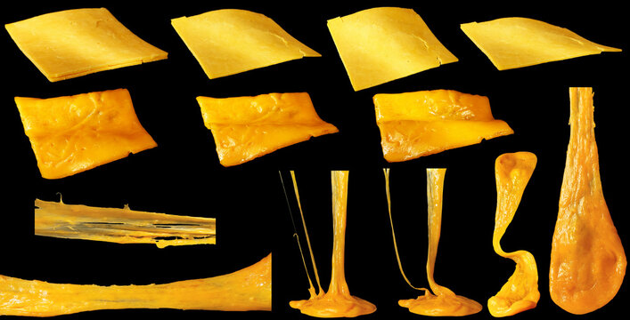 Set of slices of cheddar cheese isolated. Hot stretching cheese.