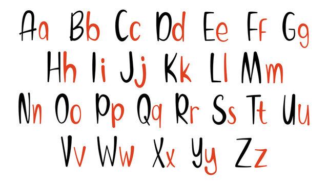 Set of hand drawn alphabet font. Simple line letters. Handwritten alphabet uppercase lowercase letters. Vector Illustration. EPS 10