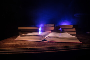 Imagine a picture book of an ancient book opened on a wooden table with a sparkling golden...