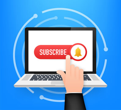 Subscribe Button Template with the notification bell on laptop. News subscribe button. Business concept subscribe. Vector illustration.