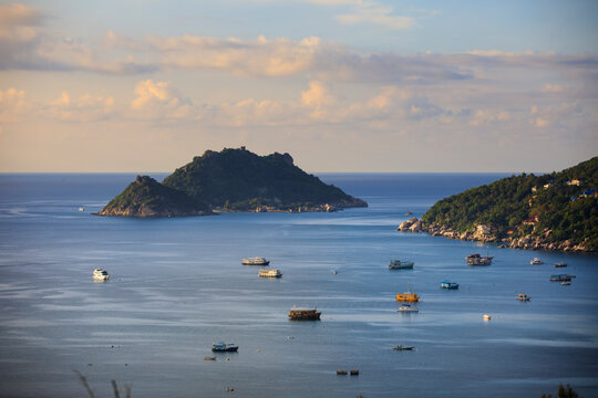 beautiful scenic of koh tao island harbor southern of thailand