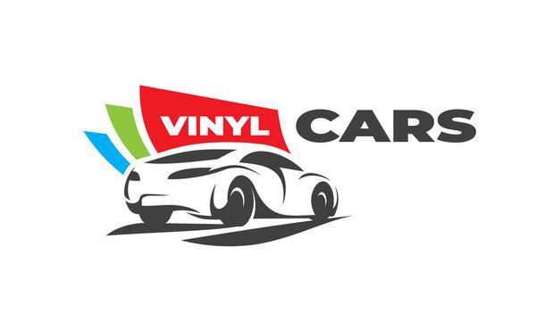 Vinyl Car wraps service logo automobile silhouette white background color