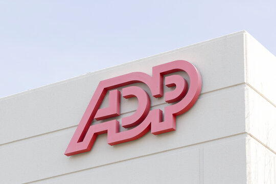 Pleasanton, CA, USA - Mar 5, 2020: The ADP sign seen at ADP Pleasanton Office. Automatic Data Processing Inc., or just ADP, is an American provider of human resources management software and services.