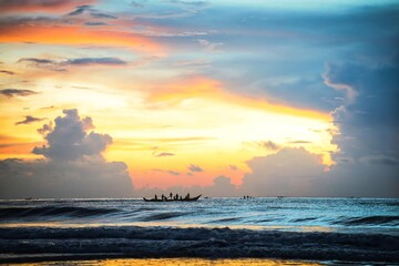 Sunrise at Pondicherry beach, India