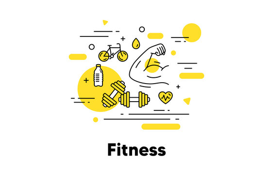 Fitness strong arm line icon. Muscle hand, muscular gym fit, dumbbell workout. Fitness strength, strong biceps flex, gym equipment icon. Sport bicycle, water bottle and dumbbell exercise. Vector