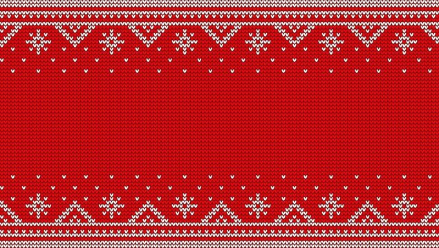 Nordic red jumper knitwear ornament. Christmas sweater knit seamless pattern. Vector illustration.