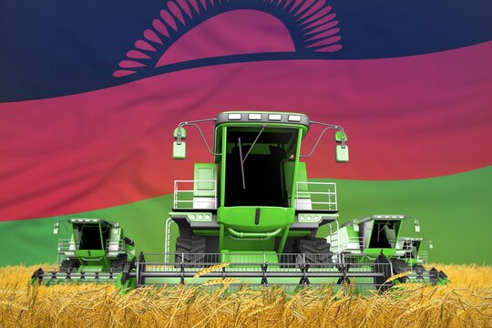 industrial 3D illustration of 4 light green combine harvesters on grain field with flag background, Malawi agriculture concept