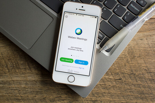 Portland, OR, USA - Mar 29, 2020: Cisco Webex Meetings mobile app login page is seen on a smartphone. The cloud-based video conferencing service enables virtual teams to collaborate on mobile devices.