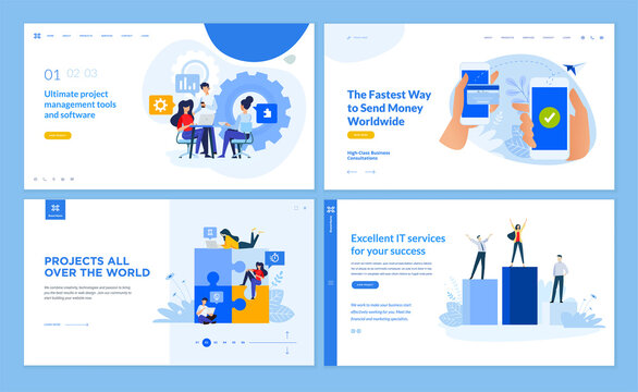 Web page design templates collection of management, e-banking, IT services, crowdsource platform. Vector illustration concepts for website and mobile website development.