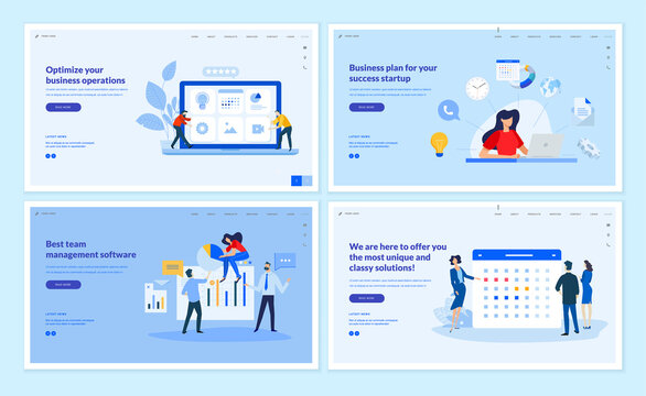 Web page design templates collection of business plan, team management, optimization, news and events. Vector illustration concepts for website and mobile website development.