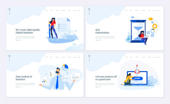 Web page design templates collection of SEO, data analysis and statistics, startup, digital solutions. Vector illustration concepts for website and mobile website development.