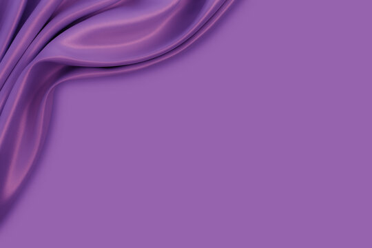 Beautiful elegant wavy violet purple satin silk luxury cloth fabric texture with violet monochrome background design. Card or banner. Copy space