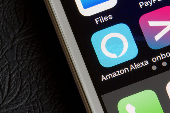 Portland, OR, USA - Apr 24, 2020: Amazon Alexa app icon is seen on a smartphone. Amazon Alexa, or simply Alexa, is a virtual assistant AI technology developed by Amazon.