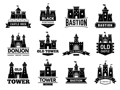 Ancient castles logo. Medieval fortress with towers vector badges or logotypes set. Illustration castle logotype, logo bastion collection
