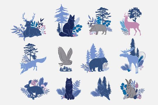 Collection of forest animals and plants. Nordic Scandinavian style. Editable vector illustration.