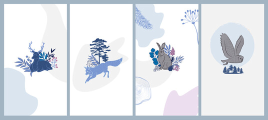 Winter Holidays vertical background collection with plants, forest nordic animals in Scandinavian style. Editable vector illustration.