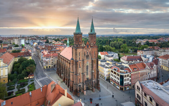 Aerial view of Saint Mary church in Legnica, Lower Silesia, Poland