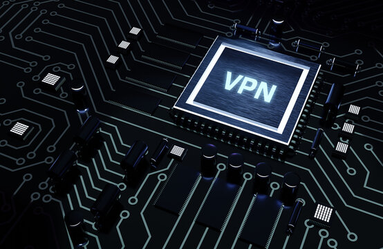 Business, Technology, Internet and network concept. VPN network security internet privacy encryption concept. Microchip